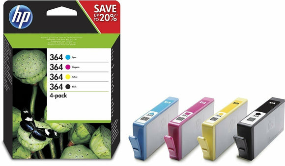 Genuine 4 Colour HP 364 Ink Cartridge Multipack N9J73AE Original Photosmart 7510