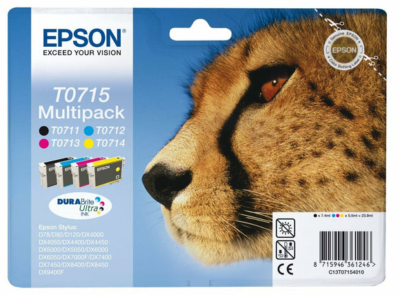 Epson Genuine T0715 Cheetah Ink set T0711 , T0712 , T0713 , T0714 , 4 cartridges