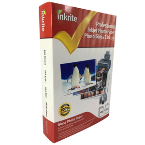 "Inkrite Glossy 6x4"" Inkjet Photo Paper 210gsm - 100 Sheets White 1 Pack Gloss UK"