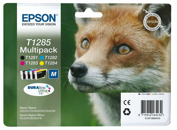 *New 4 Epson Original T1285 T1281, T1282, T1283, T1284 Bulk Pack Ink Cartridges