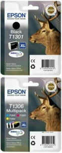 Genuine Extra High Capacity 4 Colour Epson T1301 / T1306 Inks T1301 & T1306 Stag