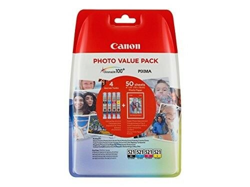 Canon CLI-521 Photo Value Pack ChromaLife 100+ Pixma Cyan/Magenta/Yellow/Black