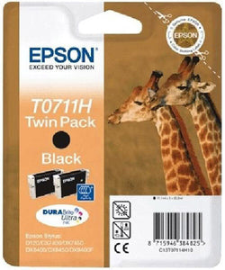 Genuine EPSON T0711H Giraffe Twin Pack DuraBrite Ultra Black Ink Cartridge T0711