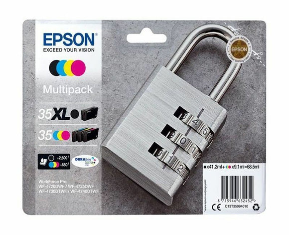 Genuine Epson T3599 Padlock (35XL) Cartridge Multipack 4 or 6 inks  WF-4730DTWF