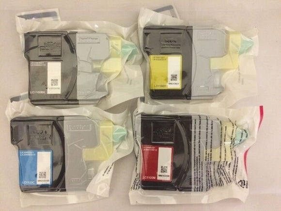 Genuine Brother LC1100 Value Pack C/M/Y/BK Inkjet Cartridges LC110VALBP MFC DCP