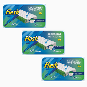 3 Packs Flash Speedmop 72 WET CLOTHS - (3x24) Refills Lemon - Speed Mop Refill