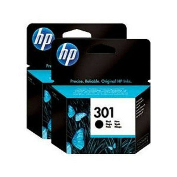 2 X HP 301 Black Ink Cartridge 3050a 2050a 1050a 3050 2050 1050 1000 Print Twin