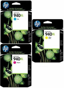 HP 940XL Ink Cartridges Cyan, Magenta, Yellow C4097AE, C4907AE, C4908AE, C4909AE
