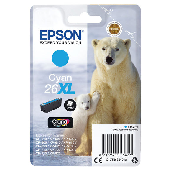Genuine Epson 26/26XL Polar Bear Ink Range for XP-510 XP-610 XP-710 XP-820 Lot