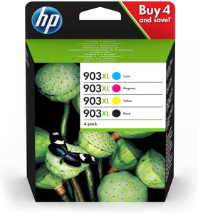 HP 3HZ51AE 903XL High Yield Original Ink Cartridges, Black/Cyan/Magenta/Yellow, Multipack