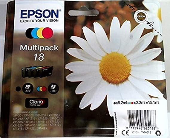 Epson 18 Black & Colour Ink Cartridge 4 Pack (Original)
