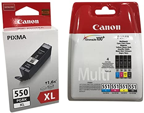 CANON 550XL Black + CLI 551 Colour 4 ink Cartridges Cyan/Yellow/Black/Magenta