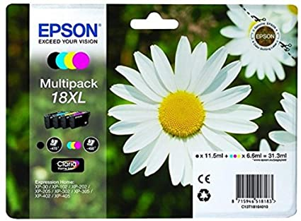 Epson 18XL Black & Colour High Capacity Ink Cartridge 4 Pack (Original)