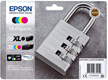 Genuine Epson 35XL BLACK Plus 35 Padlock Multipack Ink Cartridges
