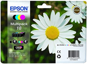 Epson 18 Multipack 4 Ink Cartridges (Black, Cyan, Magenta, Yellow)