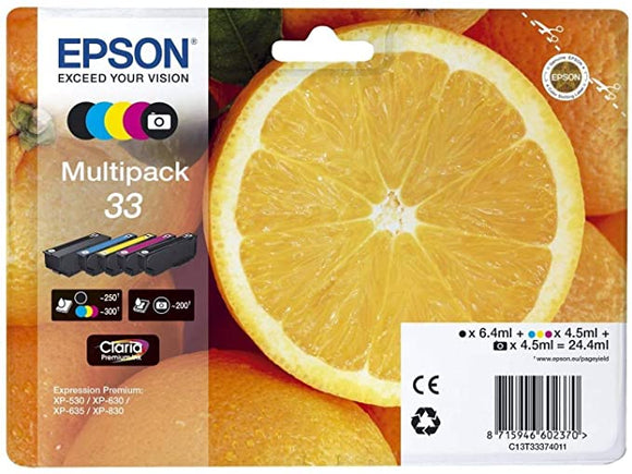 EPSON 33 Claria Oranges Premium Photo Ink Cartridged, Black/Cyan/Magenta/Yellow