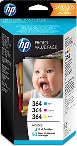 HP T9D88EE 364 Series Photo Value Pack, 50 Sheets/10 x 15 cm, Cyan/Magenta/Yellow, Pack of 3
