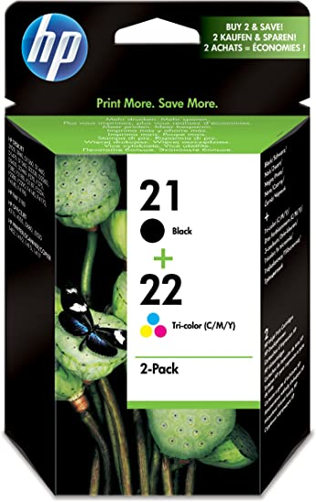HP SD367AE 21/22 Original Ink Cartridges, Black and Tri-color, Pack of 2 inks No Box
