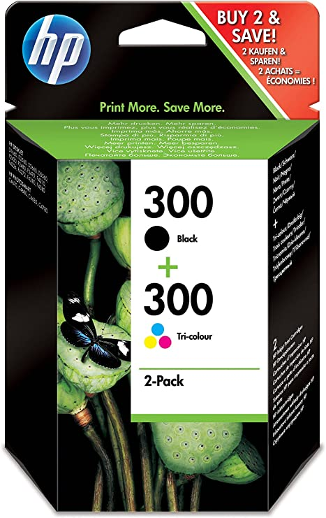 HP CN637EE 300 Original Ink Cartridges, Black and Tri-color, Pack of 2 inks - No Box