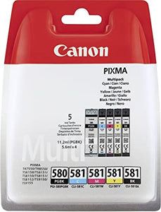 Canon Pixma 580Black 581 Colours Multipack 2078C005 5 Ink Cartridges