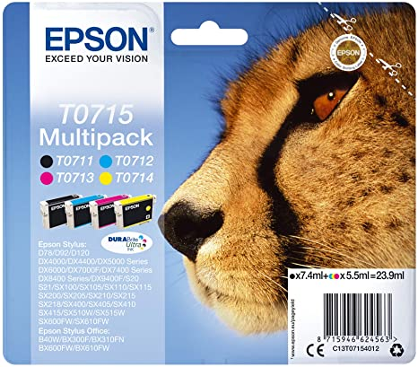 Epson T0715 Black & Colour Ink Cartridge 4 Pack (Original)