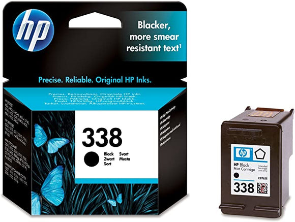 Original HP printer C8765E 338 ink cartridge black Deskjet/PSC/Photosmart/Officejet/Digital Copier printers - Easy Mail Packaging - Foil Inks