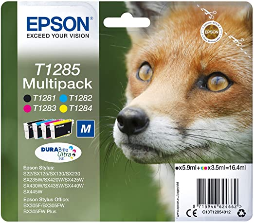 Epson T1285 Black & Colour Ink Cartridge 4 Pack (Original)