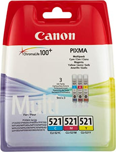 Canon CLI-521 C/M/Y Colour Ink Cartridge Multipack