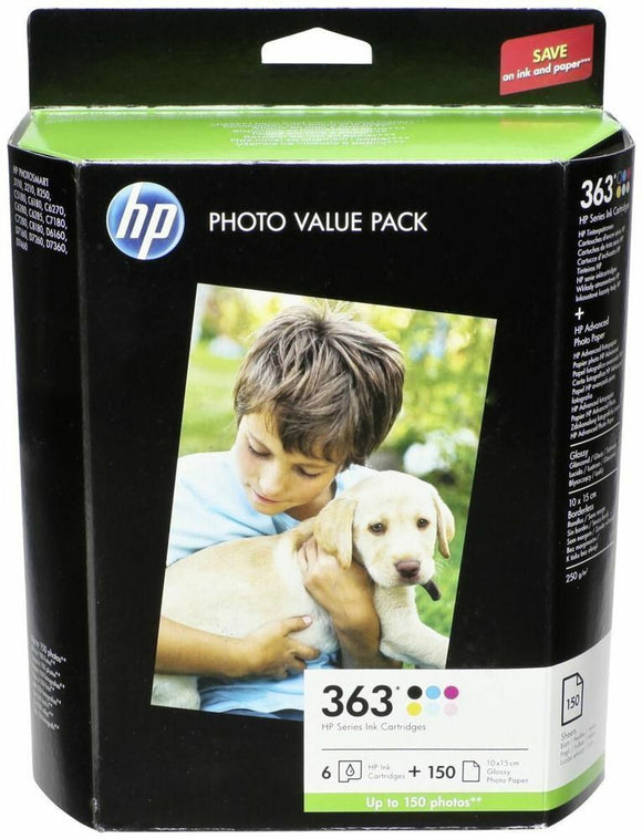 HP 363 Q7966EE Value Pack 6 Inks+150 Sheets Glossy Paper C5180 C7180 D7360 Exp