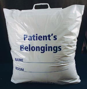Patient Belonging Bag, Plastic Rigid Handle