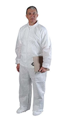 Critical Cover AlphaGuard Serged Seam Coverall, Disposable, Elastic Cuff, Large, White
