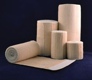 Premium Elastic Bandage, 2 Inch x 5 yds (Stretched) with Double Velcro Closure, Tan/ White Honeycomb, Latex Free (LF)