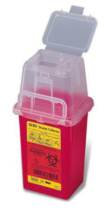 Phlebotomy Sharps Container 1-Piece 9 H X 4-1/2 W X 4 D Inch 1.5 Quart Red Vertical Entry Lid