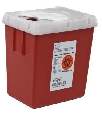 AutoDrop 1-Piece Phlebotomy Sharps Container 7 1/4in H x 6 1/2in W x 4 1/2in D 2.2 Quart Red Vertical Entry Lid