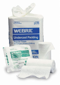Cast Padding Undercast Webril 3 Inch X 4 Yard Cotton Sterile