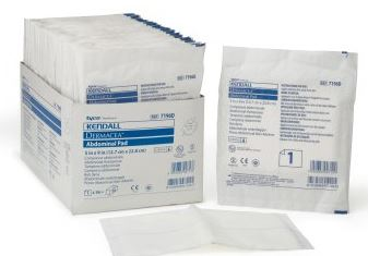 Abdominal Pad Dermacea  NonWoven / Fluff 5in x 9in Rectangle Sterile