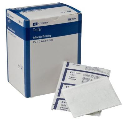 Adhesive Dressing Telfa  3in x 4in Film / Cotton Rectangle White Sterile
