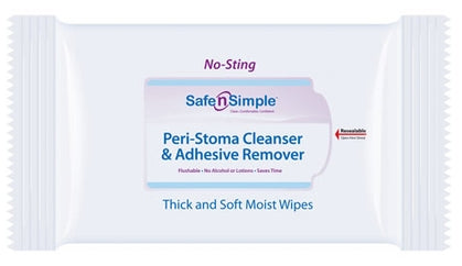 Safe N' Simple Peri-Stoma Cleanser and Adhesive Remover Wipe, No Sting, 5 Inch x 7 Inch Large