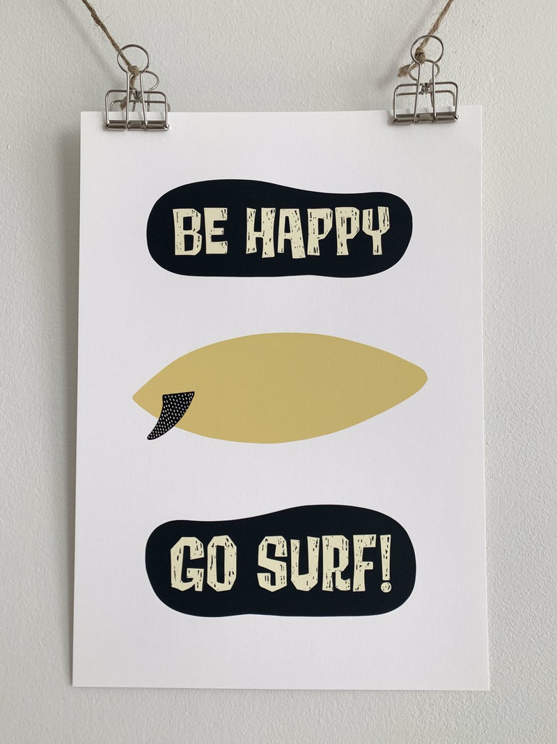 "Affiche ""Be happy Go Surf"" - A4."