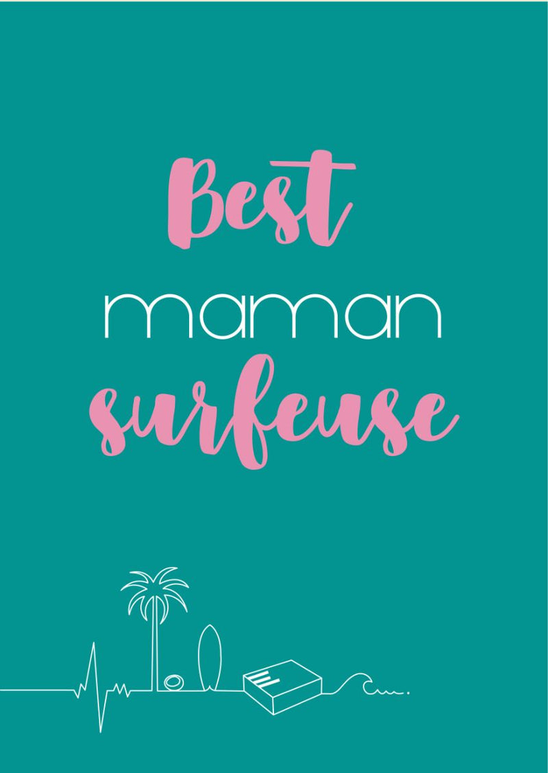 Carte postale good vibes best maman surfeuse living by the waves