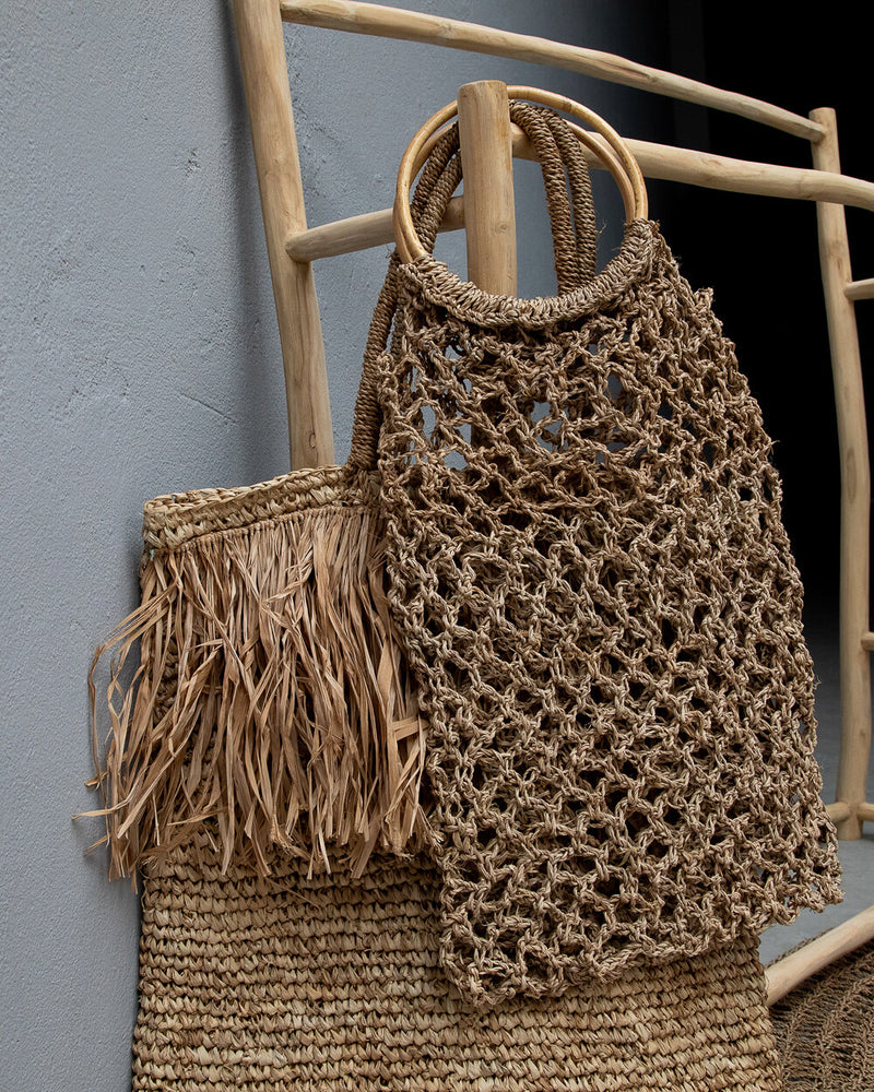 sac porté main en corde de chanvre naturel tressé filet