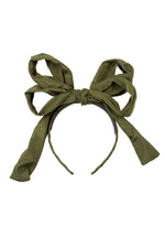 Load image into Gallery viewer, Double Party Bow Headband - Olive - PROJECT 6, modest fashion