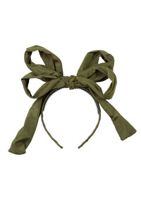 Double Party Bow Headband - Olive - PROJECT 6, modest fashion