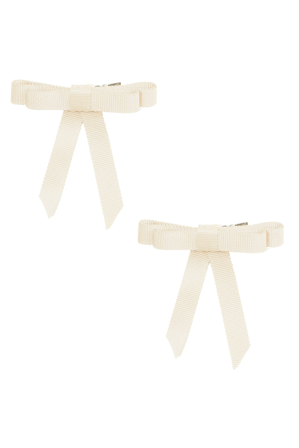 Grosgrain Bow Clip Set (2) - Ivory - PROJECT 6, modest fashion