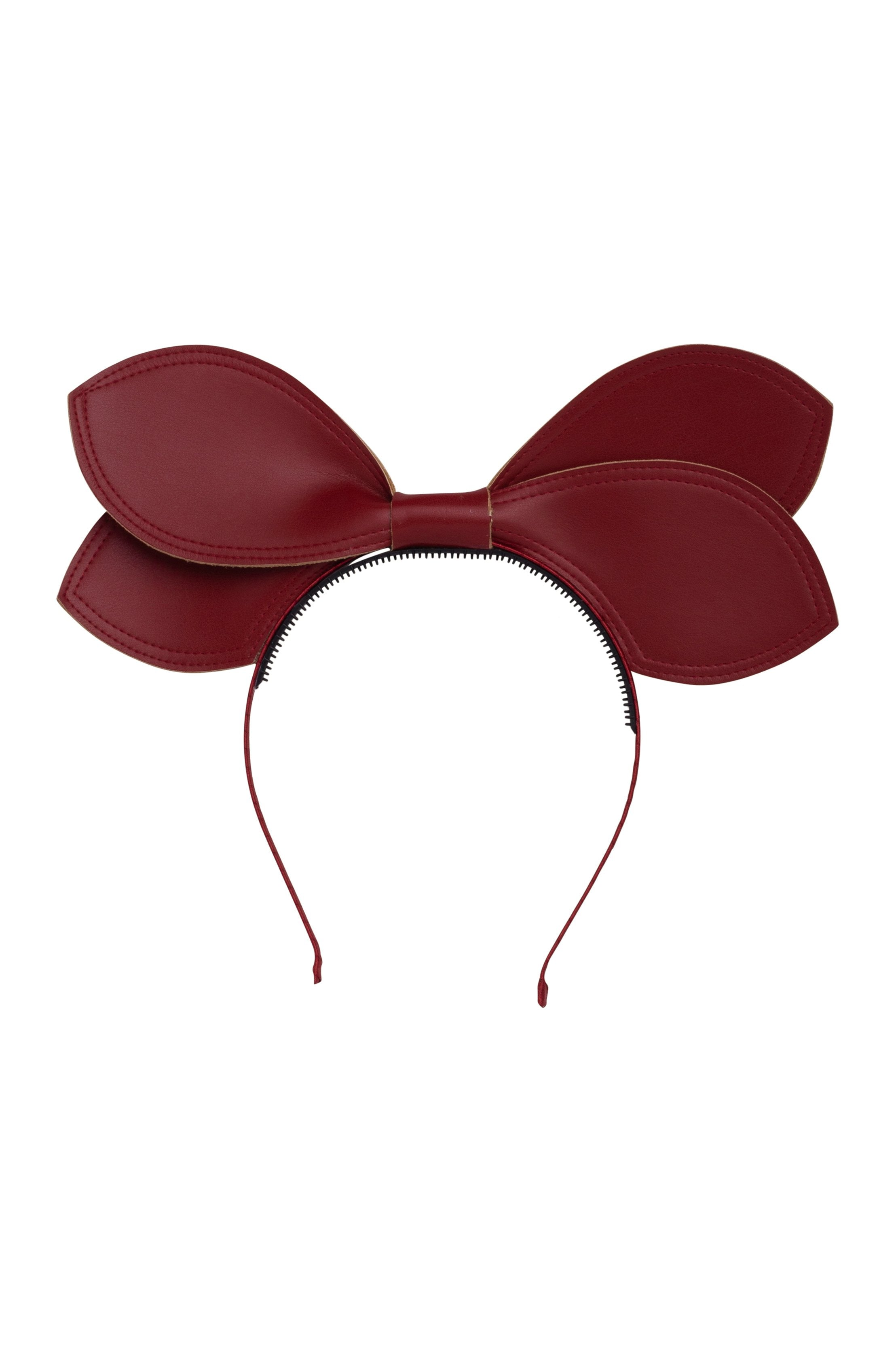Growing Orchid Headband - Burgundy Leather