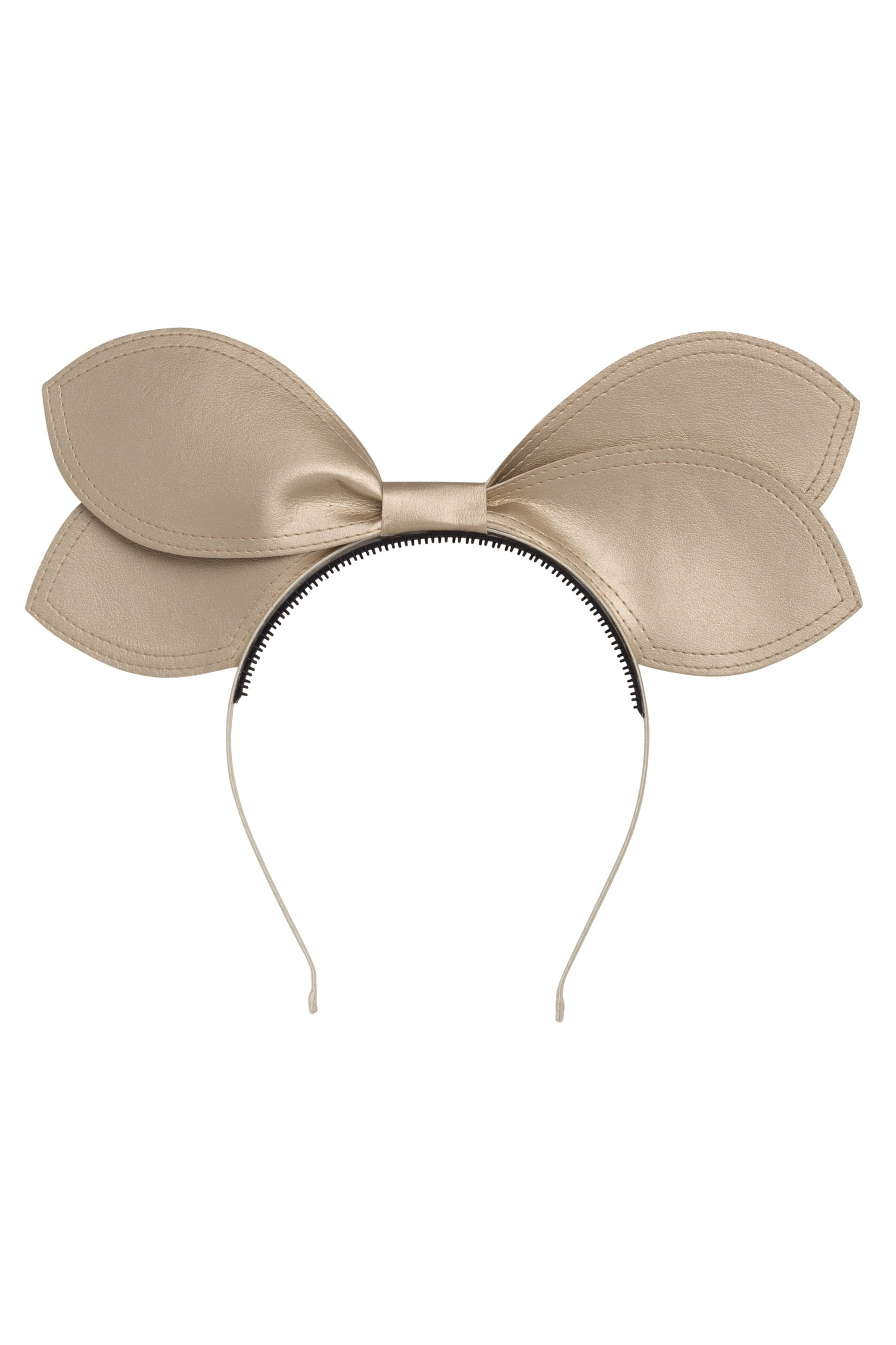 Growing Orchid Headband - Gold Leather