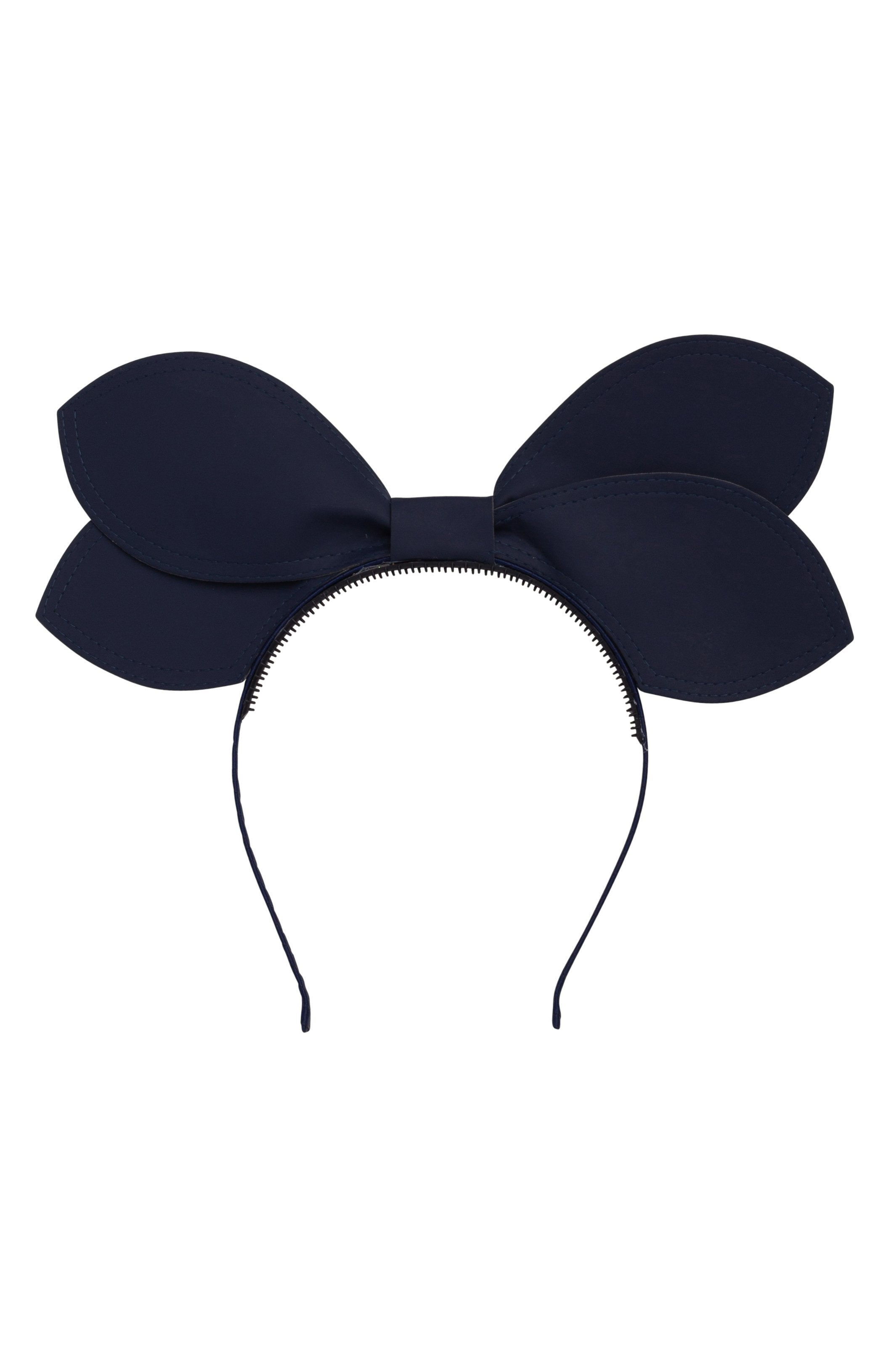 Growing Orchid Headband - Navy Leather