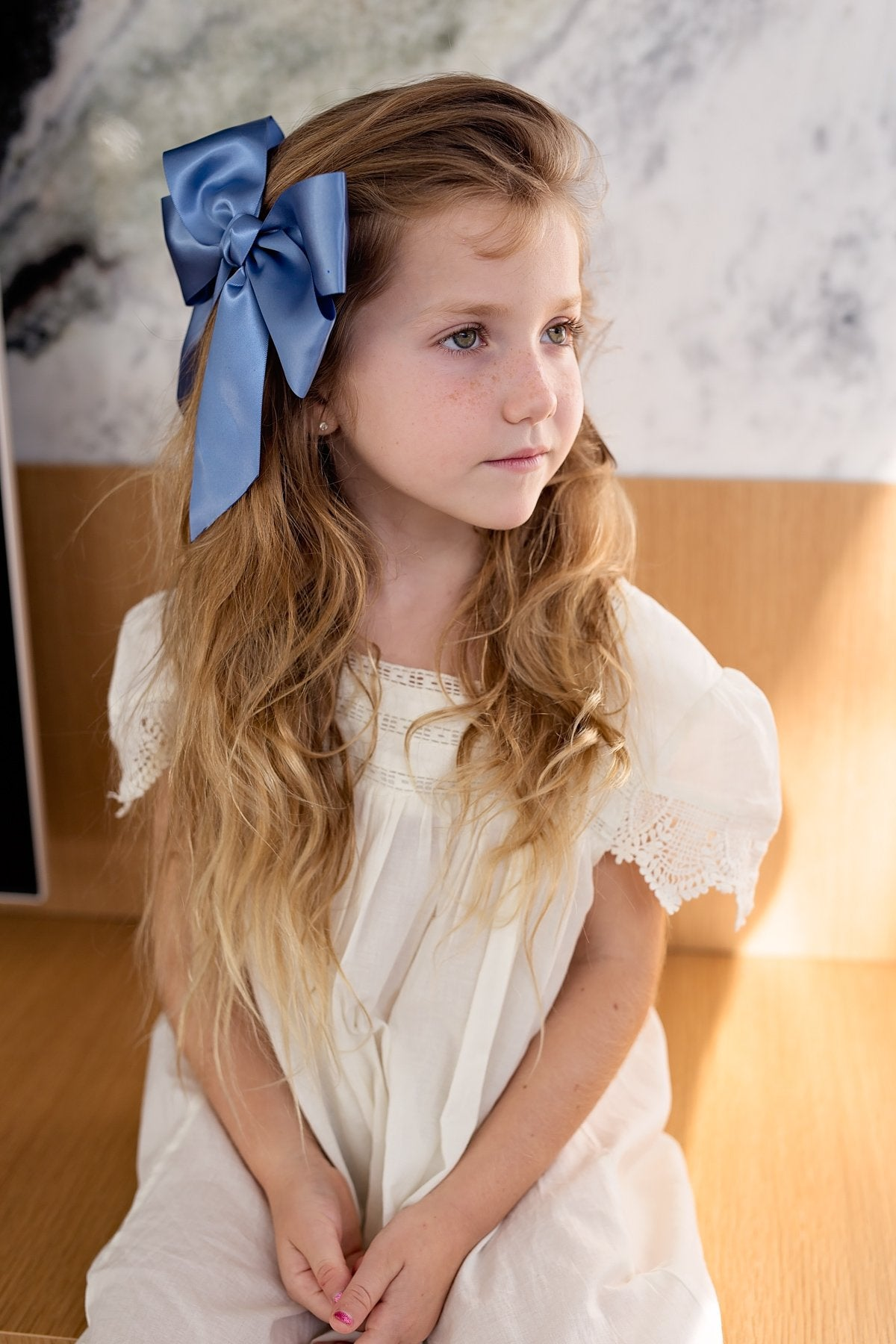 Oversized Bow Pony/Clip - Navy - PROJECT 6, modest fashion