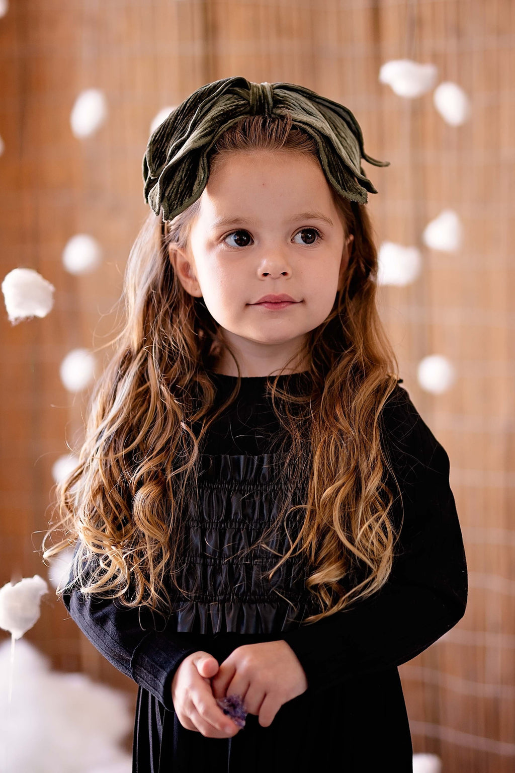 Winter Petals Headband - Olive Velvet