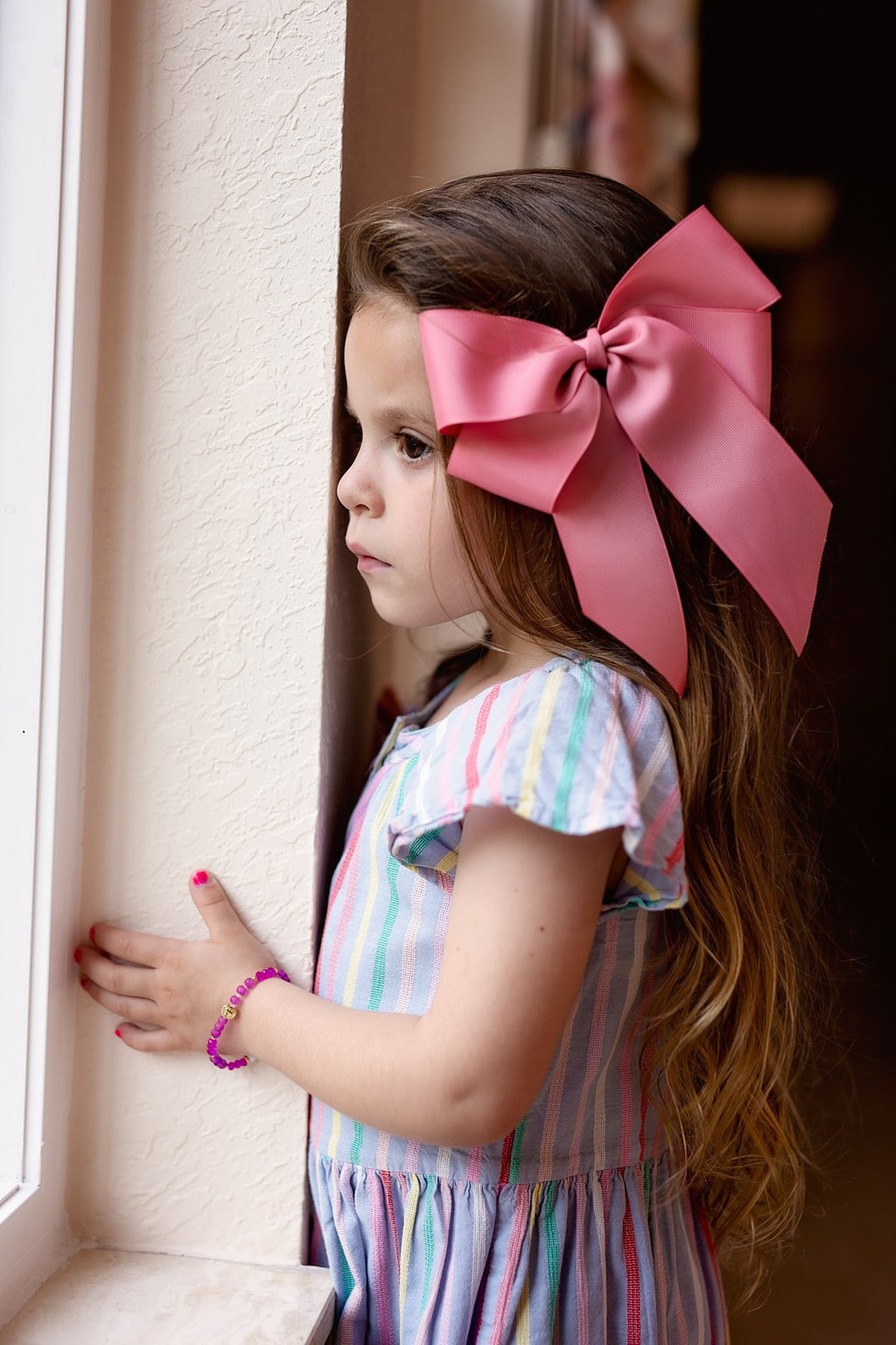 Oversized Bow Clip - Dusty Rose Grosgrain